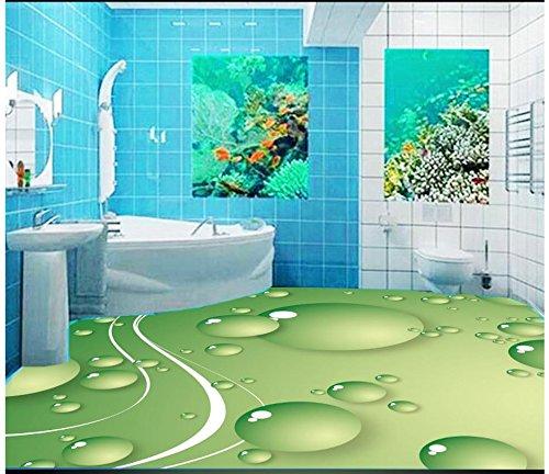 Mznm Custom 3D Photo Wallpaper 3D vloerbedekking schilderen wallpaper fris groen 3D-water vloer schilderij behang woonkamer 120 x 100 cm.