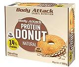 Body Attack Protein Donut, Natural (15 x 60g) Caja,13% de proteína de huevo y proteína de suero de buena calidad, vegetariano, bajo en azúcar, alternativa perfecta a las galletas convencionales