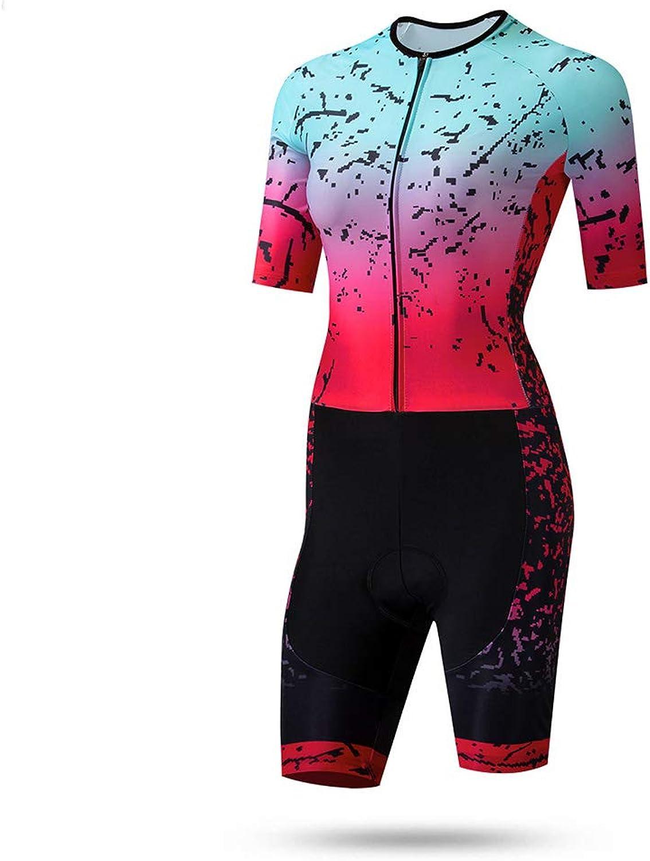 TZTED Triathlonanzug Damen Radtrikot Atmungsaktive Fahrradbekleidung Set für Duathlon Laufen Schwimmen Radfahren, hautenger Anzug