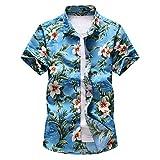 Camisas de Hombre Verano Playa Personalidad Informal Impreso Camisas de Manga Corta Fiesta Hawaiana Moda Esencial Solapa Camisas de Manga Corta 3XL