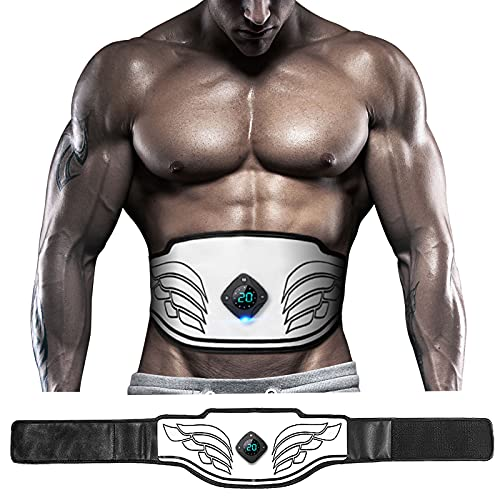 Tabbic ABS Stimulator, USB Rechargeable Portable Fitness Workout Equipment without Gel Pads for Men Woman, Arm, Leg, Home Office, The Latest Model 12 Modes, 20 Levels of Intensity