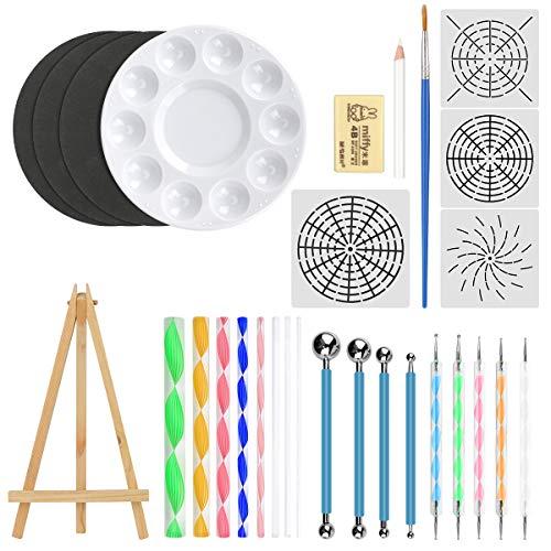 CestMall Juego de 29pcs herramientas de punteado de mandala, para pintar piedras con plantilla de mandala, bolígrafos punteados, bandeja de pintura, pincel y herramientas de modelado para manualidades