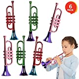 ArtCreativity 13 Inch Metallic Trumpets, Set of 6, Fun Plastic Musical Instruments Noise Makers for Parties and Events, Music Toys for Kids, Cool Birthday Party Favors for Boys and Girls