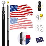 Panta 25FT Telescopic Flag Pole Kit, Black Heavy Duty Aluminum Telescoping Flagpole, Outdoor Inground Large Telescope Flag Poles with 3x5 USA Flag for Yard, Commercial or Residential