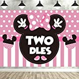 HEETON Minnie Twodles Birthday Party Supplies Decorations Pink Girl Second Fabric Banner Backdrop for Baby Two Years Old 2nd Birthday Photo Props Background -7 x 5ft