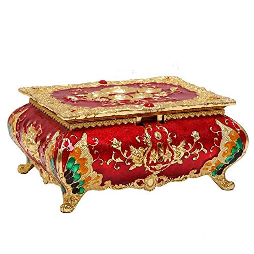 NJIUHB Jewelry Storage Box Europese stijl prinses Creative Grote capaciteit Dust-proof Jewelry Box, thuis kaptafel Girl Gift ketting Earring Ring Jewelry Storage Box7.1 * 5,5 * 3,2 * In