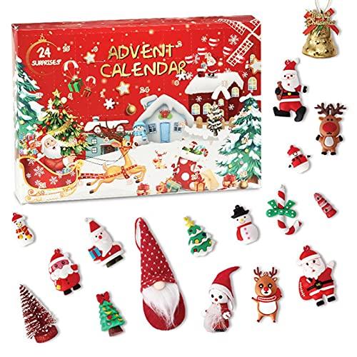 Calendario de Adviento de Navidad 2021 Calendario de Adviento de cuenta regresiva de 24 días con 24 juguetes de adorno navideño, 24 piezas Secrect Regalo de decoración navideña para niños y niñas