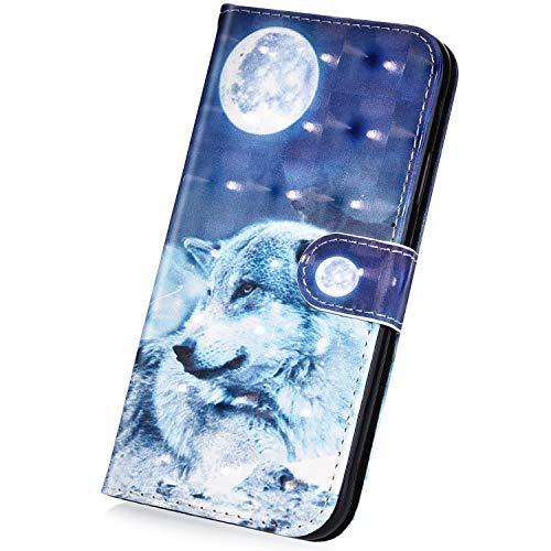 Surakey Cover Compatibile con Samsung Galaxy J3 2016 Flip Libro Portafoglio Pelle Case 3D Pittura Creativa con Funzione Supporto e Porte Carte Pieghevole Anti-Scratch Custodia,Lupo della Luna