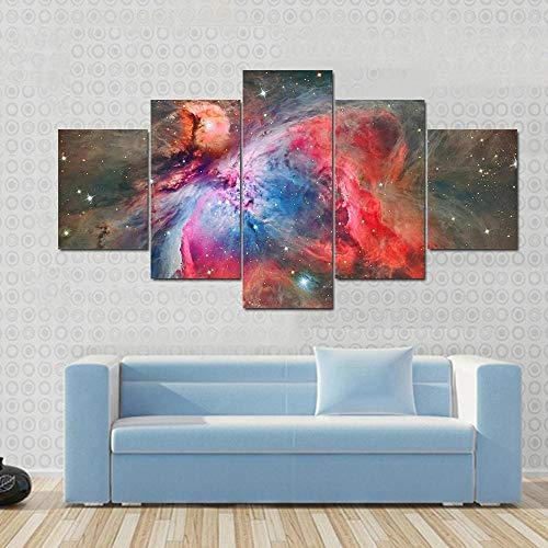 BHJIO Canvas Prints Art Modern 5 Pieces Wall Picture Orion Nebula Abstract Artwork Framed Home Decoration Bedroom Living Room Creative Gift(60''Wx32''H).