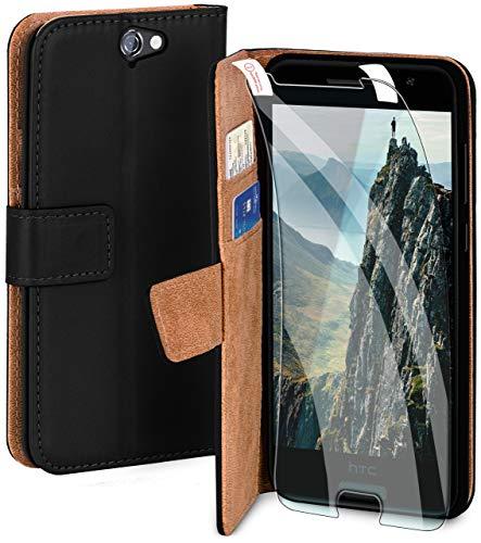 moex Handyhülle für HTC One A9 - Hülle mit Kartenfach, Geldfach & Ständer, Klapphülle, PU Leder Book Hülle & Schutzfolie - Schwarz