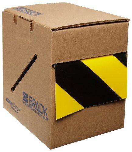 Brady ToughStripe Floor Marking Tape - Yellow and Black Diagonal Stripes, Non-Abrasive Tape - 3 Width, 100 Length - 104347