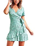 Relipop Summer Women Short Sleeve Print Dress V Neck Casual Short Dresses (Small, T4)