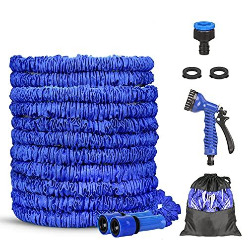Tubo da Giardino, Tubo Acqua Giardino, Tubo da Giardino Estensibile Fatto in 3 Strati di Lattice con 8 Funzioni di Spruzzo, Flessibile Tubo da Giardino per Giardinaggio (100)