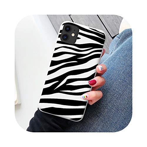 SE 2020 6S Plus blanco suave TPU silicona silicona teléfono caso cubierta para iPhone 12 7 8 plus X Xs max 11 Pro Max XR Zebra clip art-white Zebra 1-For 6Plus 6SPlus