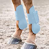 HORZE Protective Lightweight Adjustable Horse Tendon Boots for Jumping and Turnout (Sold in Pairs) - Cashmere Blue - Horse