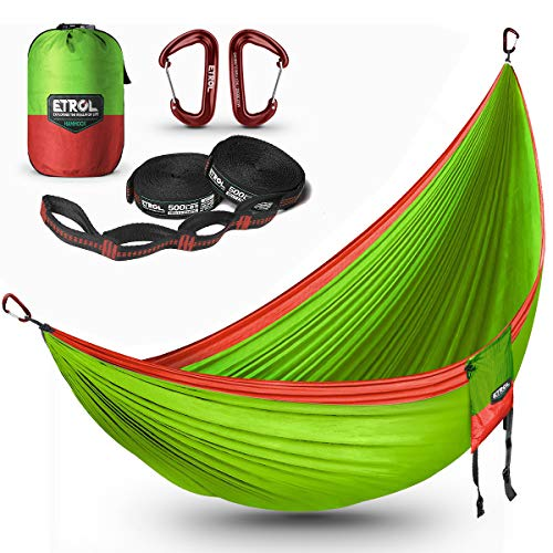 ETROL Hammock,Camping Lightweight Parachute Portable Hammocks |2 people|300x200m|500LB Load Capacity,for Travel, Indoor, Outdoor Backpacking, Beach Includes Tree Straps and Aluminum Alloy Carabiners