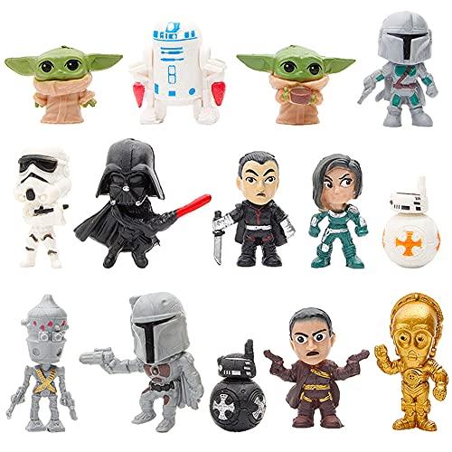 Figuras De Star Wars, Hilloly 14 Piezas Mini Figuras De Star Wars, Mini Figuras Fe Acción De Star Wars, Adecuado Para Decoración De Fiestas, Muebles Para El Hogar, Regalos, Decoración De Automóviles