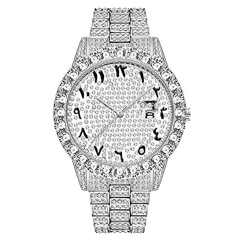 KLFJFD Calendario De Diamantes De Imitación De Hip Hop Reloj Impermeable para Hombres con Esfera Grande Reloj De Regalo De Cumpleaños De Moda Informal A La Moda
