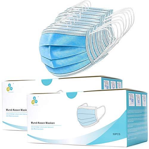Masken Mundschutz (100STK), Mund und Nasen Maske 3-Lagig aus Vlies Alltasmasken CALIYO Anesthesia Schutzmasken
