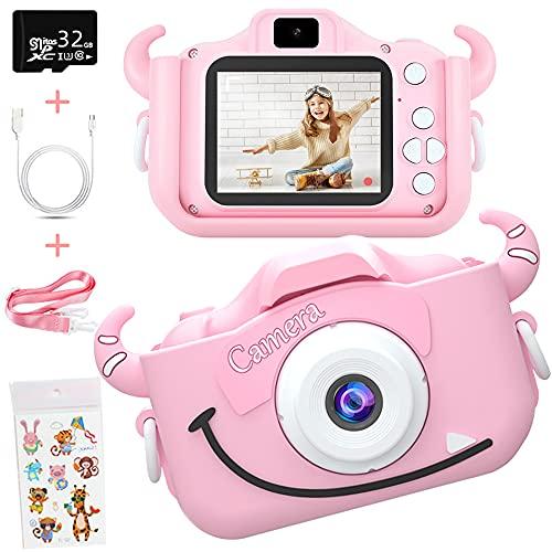 Caiery Macchina Fotografica Bambini, Bambini Fotocamera Digitale Selfie Macchina Fotografica con Scheda SD 32 GB, Portatile Videocamera, Regalo di Natale per Bambini (Rosa)
