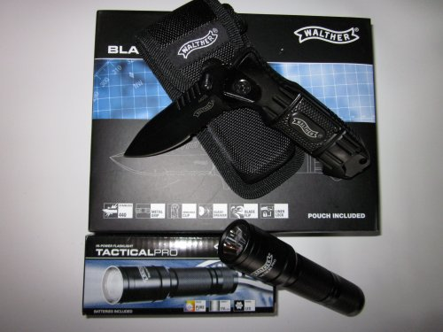 Walther Tactical Pro LED Taschenlampe + Walther Black Tacknife im SET