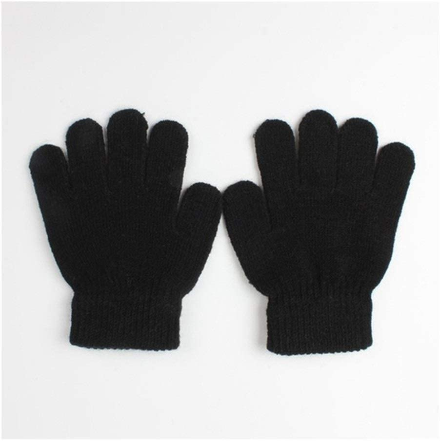 ZZTT Autumn and Winter Gloves Children Knitted Stretch Mittens Kids Solid Girls Gloves Full Finger Glove Knitted Random Boys Gloves Winter Warm Baby Gloves Warm and Comfortable Gloves (Color : BK)
