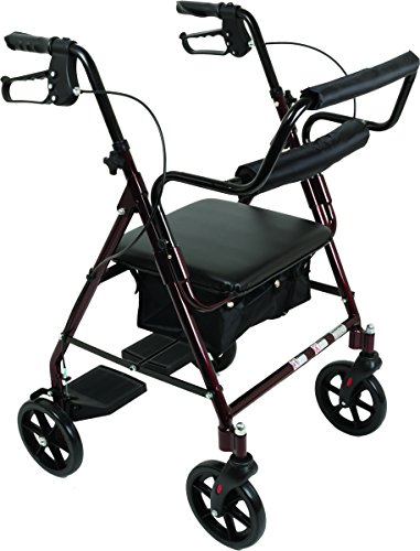 Transport Rollator with Padded Seat Fold Up Seat 8 Inch Wheels Weight Capacity: 250 Pounds Burgundy
