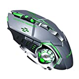 MeterMall Rechargeable Wireless Mouse Silent Ergonomic Gaming Mice 6 Keys RGB Back-Light for Laptop Computer Pro Gamer Q13 Iron Gray Mute Electronic and Accessories