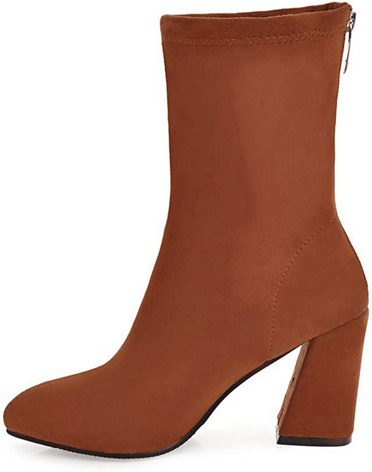 T-JULY Women's Winter Boots Ladies Mid Calf Boots Zip Design Western Boots Girls Black bluee Red shoes