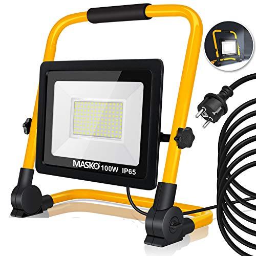 MASKO® LED Baustrahler - Arbeitsleuchte - Arbeitsscheinwerfer - 5m Netzkabel - Bauscheinwerfer - inkl. Standgestell und Tragegriff - Baulampe - Flutlicht - Strahler Baustellenlampe innen außen (100W)