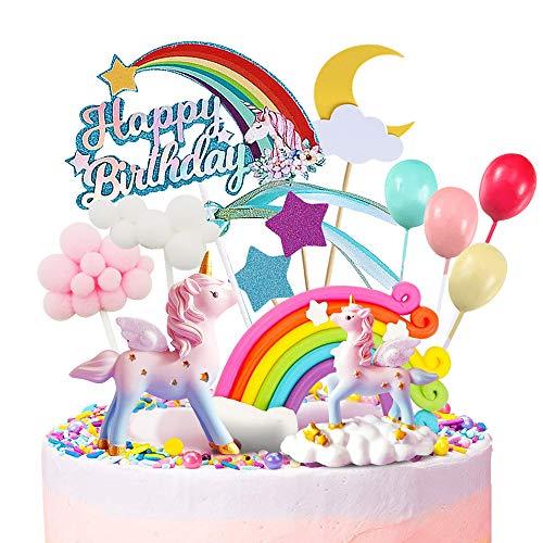 Humairc Einhorn Tortendeko Torte Topper Kuchen Deko für Mädchen Geburtstag Happy Birthday Luftballon Wolke Mond Sternen Cake Topper