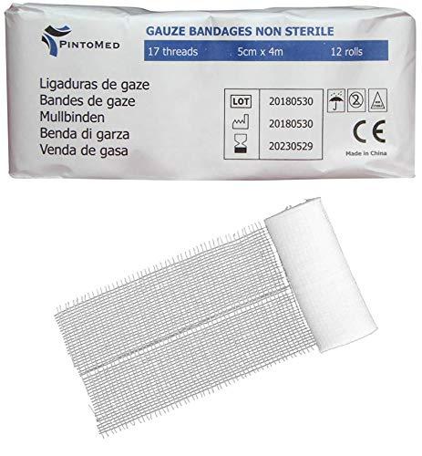 PintoMed - Venda de Gasa Non estéril - 12 rollos - 5cm x 4m - 17 trapos - Vendas ajustables para heridas, Venda médica de primeros auxilios