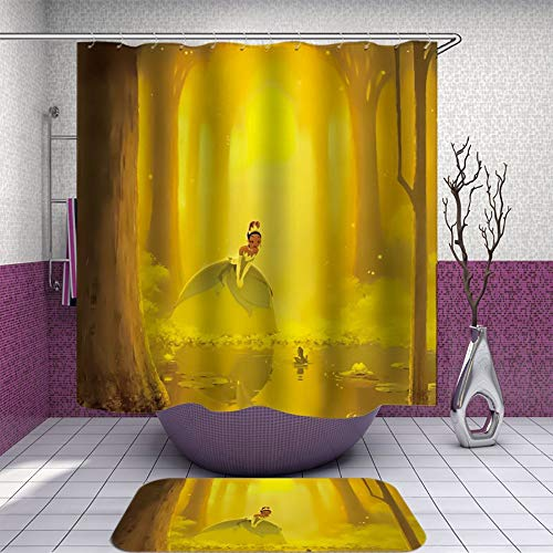 SARA NELL Shower Curtain and Rug Set for Bathroom Dreamy Cartoon Princess and Frog in Golden Forest Shower Curtain Fabric Bathroom Curtain Set with 12 Hooks - 72 x 72 Inch