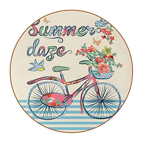 Juego de 6 posavasos de diseño único para posavasos de mesa con posavasos antideslizantes en la parte trasera, juegos de regalo, diseño vintage retro para bicicleta, diseño floral mariposa pájaros