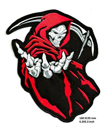 shopiyal Handspiegel, Sensenmann, Totenkopf Gothic-Stil Rot/Biker Motorrad Harley Chopper Biker Rider, hochwertig bestickt zum Aufbügeln, für Kleidung, Jacken, T-Shirts, Taschen,