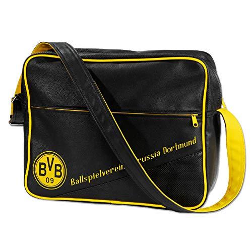 Borussia Dortmund Erwachsene BVB-Retro Umhängetasche Tasche, schwarz, one Size