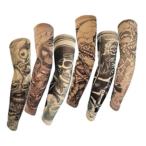Jurxy 6 Stück Tattoo Ärmel Temporäre Tattoos Arm Sleeves Tätowierung Armstrümpfe Tattoo Strumpf Arm für Karneval Fasching Party - Stil L