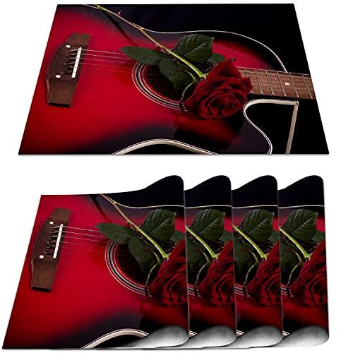 COFEIYISI Manteles Individuales Juego de 4,Rojo y Negro Músico español Portugal Guitarra Hecha a Mano con Tema romántico Patrón Love Rose Salvamanteles para la Mesa de Comedor de Cocina 30x45cm