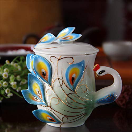 Copa De Vino Taza De Café Taza1 Pcs Enamel Porcelain Peacock Coffee Cup Ceramic Cups 3D Color Office Home Coffee Tea Sets & T