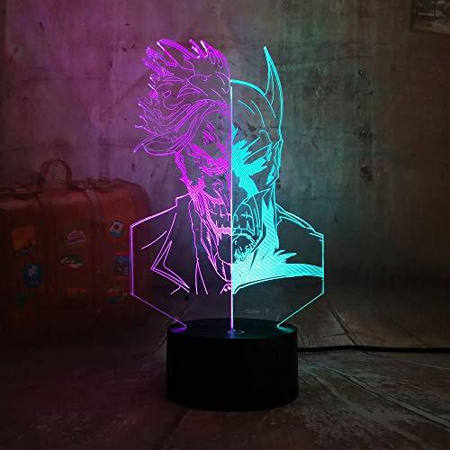 shiyueNB Cool Comic DC et Clown 3D LED RGB Nuit Lumière Mixte Double Couleur Bébé Sommeil Lumière Bureau Lampe Home Decor Enfants Cadeau De Noël