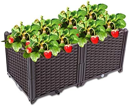 Elevated Garden Bed Kit Modern Rattan Plastic Elevated Bed Garden Flower Pot Stand Rectangular product image