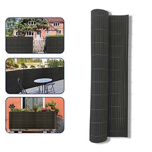 UISEBRT Sichtschutzmatte PVC Sichtschutzzaun Windschutz Sonnenschutz für Balkon, Garten und Terrasse, 90x600cm, Grau