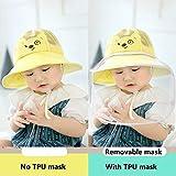 JIAYUAN 保護帽 安全保護帽子防護 フェイスシールド取り外し可能なUVクリアバイザーとベビーサンハットキッズ子供0-6歳のためのアンチよだれ防滴屋外フィッシャーマンハット用のためのつば広帽子バケツ (Color : Yellow, Size : 0-6months)