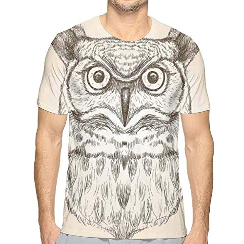 Mens 3D Printed T Shirts,Hand-Drawn Artistic Sketch of An Owl Head Front View Wildlife Animal Theme M