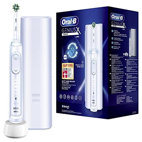 Oral-B Genius X Elektrische Zahnbürste/Electric Toothbrush mit künstlicher Intelligenz & Putztechnikerkennung, visuelle Andruckkontrolle, 6 Putzmodi inkl. Sensitiv, Timer, Reise-Etui, weiß