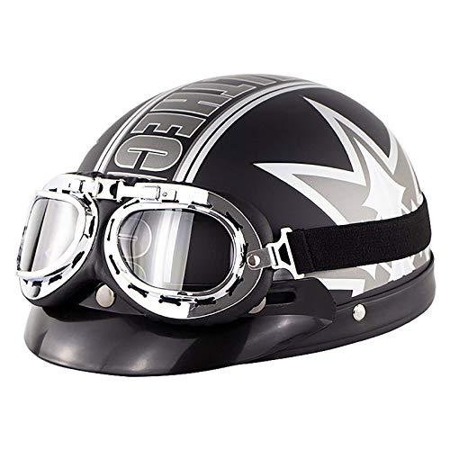 ACEMIC Hombres y mujeres retro casco de motocicleta certificación DOT casco medio shell con gafas calle motocicleta scooter vintage ciclomotor ATV motocicleta semi-abierto casco E