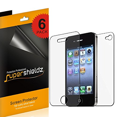 Supershieldz High Definition Clear Screen Protector Shield for iPhone 4 4S (3 Front and 3 Back)