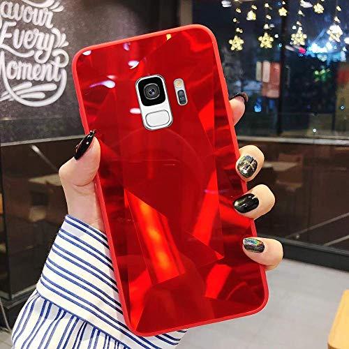 Uposao Kompatibel mit Samsung Galaxy S9 Hülle Spiegel Handyhülle Glänzend Glitzer Strass TPU Silikon Hülle Schutzhülle Überzug Mirror Case Stoßfest Cover Dünne klare weiche TPU Hülle,Rot