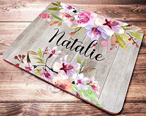 Personalized Floral Name Mouse Pad Custom Pink Watercolor Cherry Blossoms On Faux Wood Mousepad Desk Accessories Decor for Women