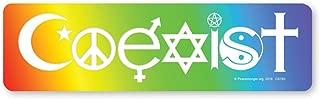 Peacemonger Coexist Rainbow Symbolic Peace Sign Religion Interfaith Color Lg Bumper Sticker